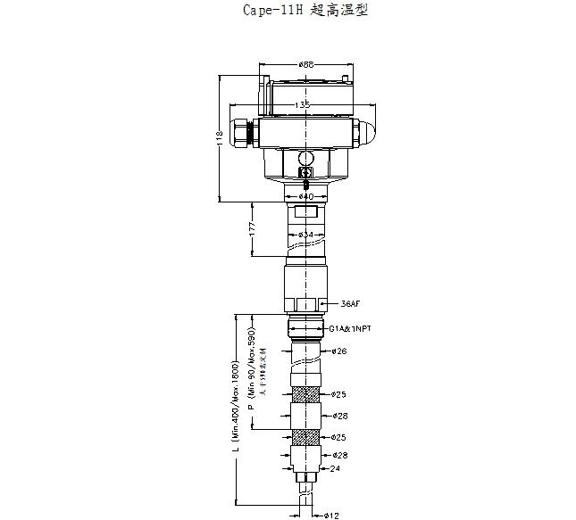 不同类型射频导纳料位开关的尺寸及应用